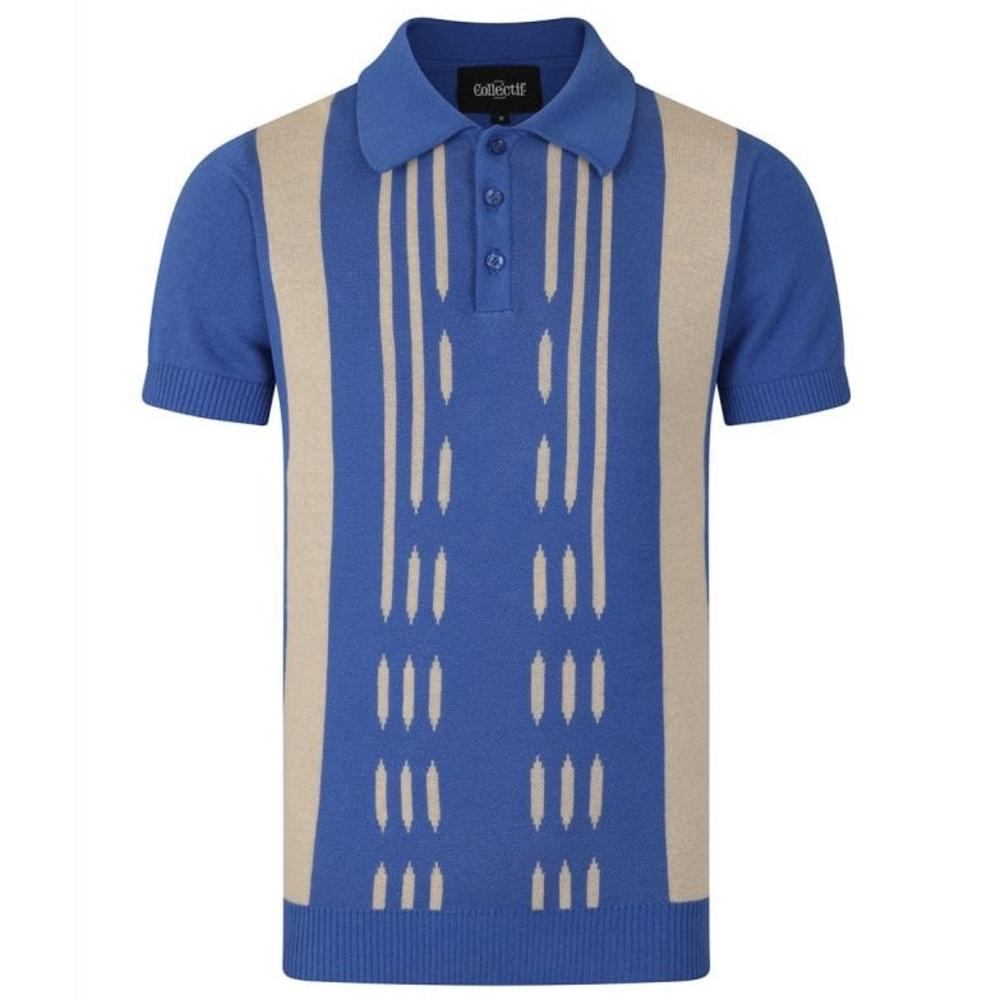 Collectif Retro Stripe Knit Polo Blue and Cream