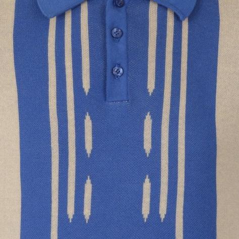 Collectif Retro Stripe Knit Polo Blue and Cream Thumbnail 3