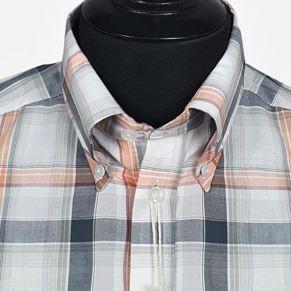 Real Hoxton Orange, White and Black Check Short Sleeve Shirt