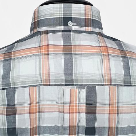 Real Hoxton Orange, White and Black Check Short Sleeve Shirt Thumbnail 3