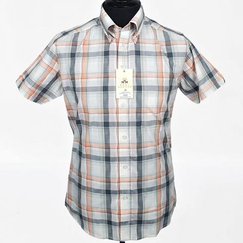 Real Hoxton Orange, White and Black Check Short Sleeve Shirt Thumbnail 2