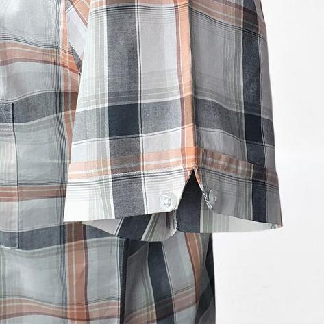 Real Hoxton Orange, White and Black Check Short Sleeve Shirt Thumbnail 4