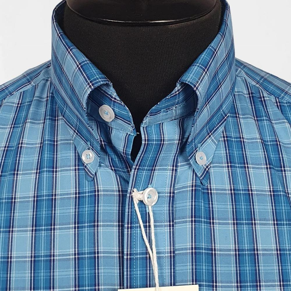Real Hoxton Blue and Turq Check Short Sleeve Shirt