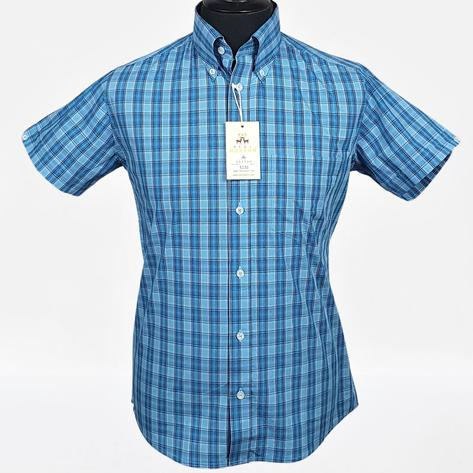 Real Hoxton Blue and Turq Check Short Sleeve Shirt Thumbnail 2
