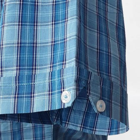 Real Hoxton Blue and Turq Check Short Sleeve Shirt Thumbnail 4