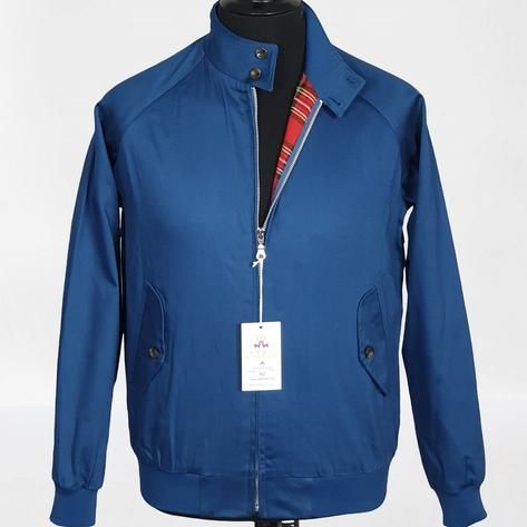 Real Hoxton Raglan Sleeve Harrington Jacket Royal Blue Thumbnail 2