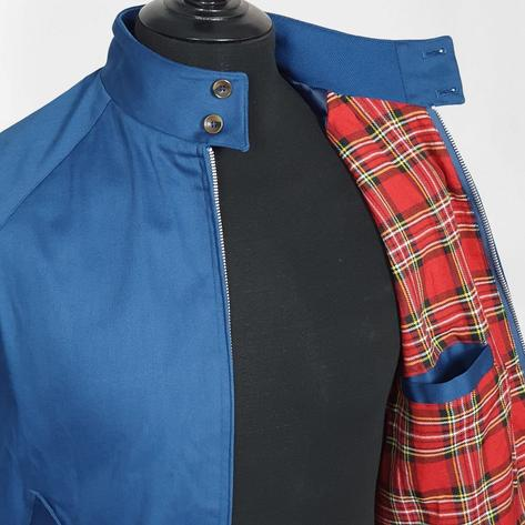 Real Hoxton Raglan Sleeve Harrington Jacket Royal Blue Thumbnail 4