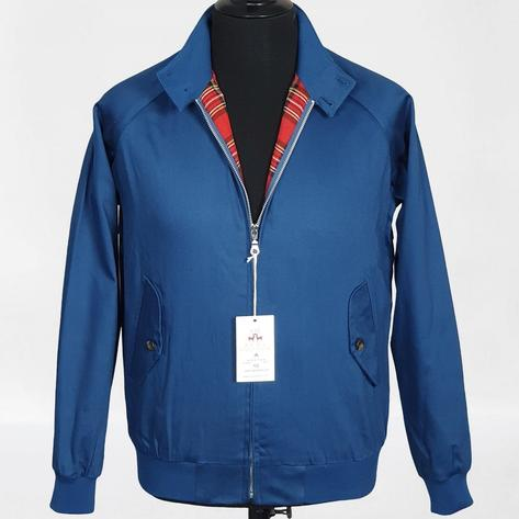 Real Hoxton Raglan Sleeve Harrington Jacket Royal Blue Thumbnail 1