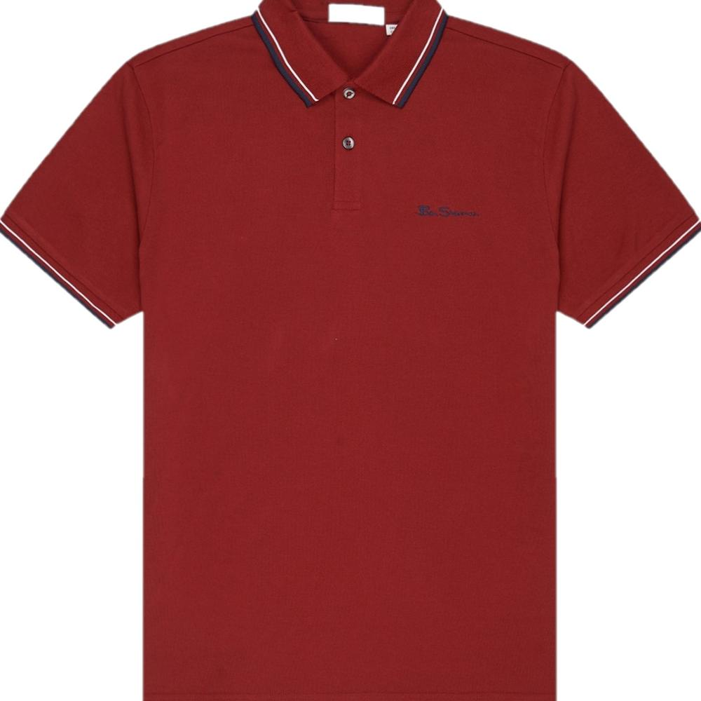 Ben Sherman Tipped Pique Polo Shirt Deep Red