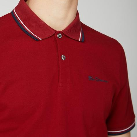 Ben Sherman Tipped Pique Polo Shirt Deep Red Thumbnail 3