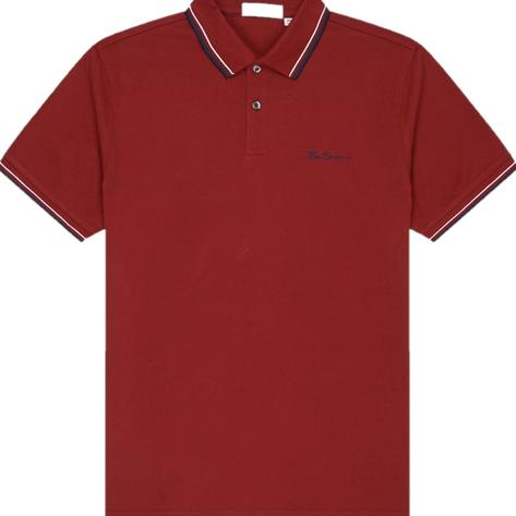 Ben Sherman Tipped Pique Polo Shirt Deep Red Thumbnail 1