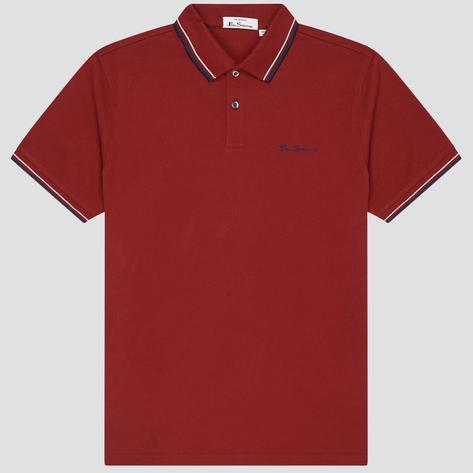 Ben Sherman Tipped Pique Polo Shirt Deep Red Thumbnail 2