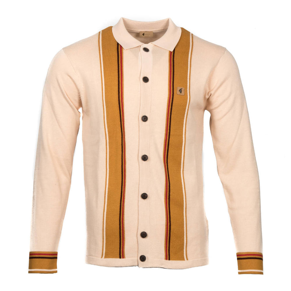 Gabicci Vintage Stripe Button Through Cardigan Oatmeal