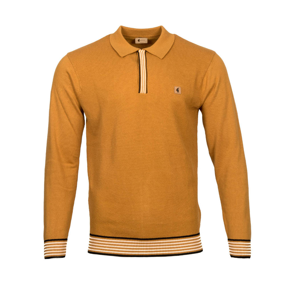 Gabicci Vintage Texture Knit Concealed Button Polo Tan