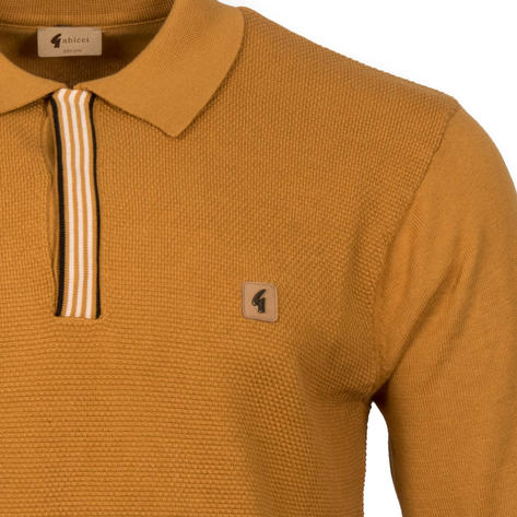 Gabicci Vintage Texture Knit Concealed Button Polo Tan Thumbnail 2