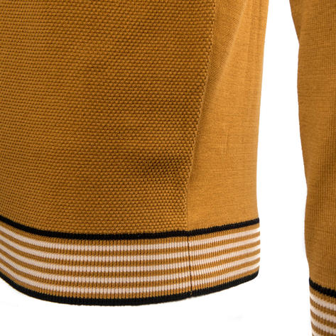 Gabicci Vintage Texture Knit Concealed Button Polo Tan Thumbnail 4