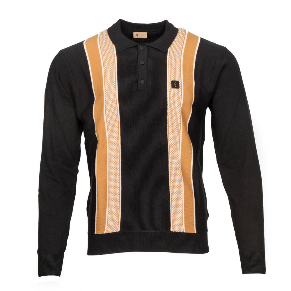 Gabicci Vintage Textured Block Stripe 3 Button Polo Black