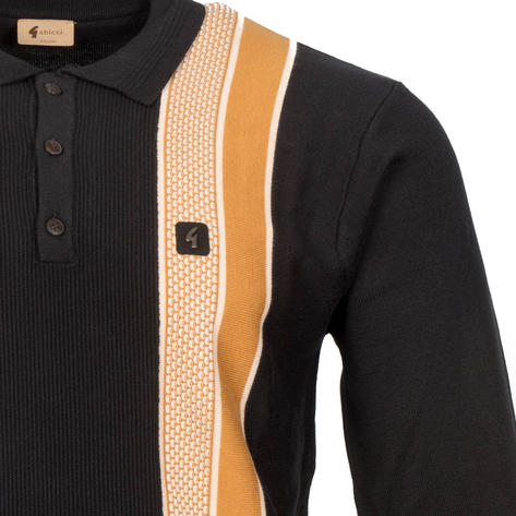 Gabicci Vintage Textured Block Stripe 3 Button Polo Black Thumbnail 2