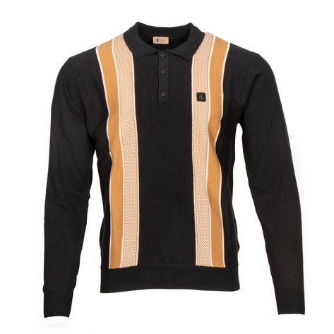 Gabicci Vintage Textured Block Stripe 3 Button Polo Black Thumbnail 1