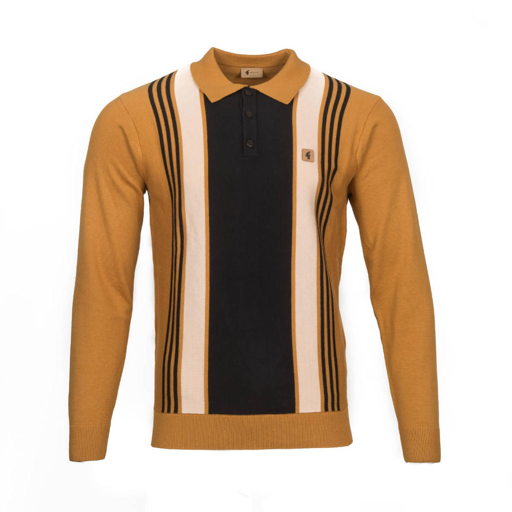 Gabicci Vintage Multi Stripe 3 Button Polo Tan