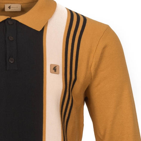 Gabicci Vintage Multi Stripe 3 Button Polo Tan Thumbnail 2