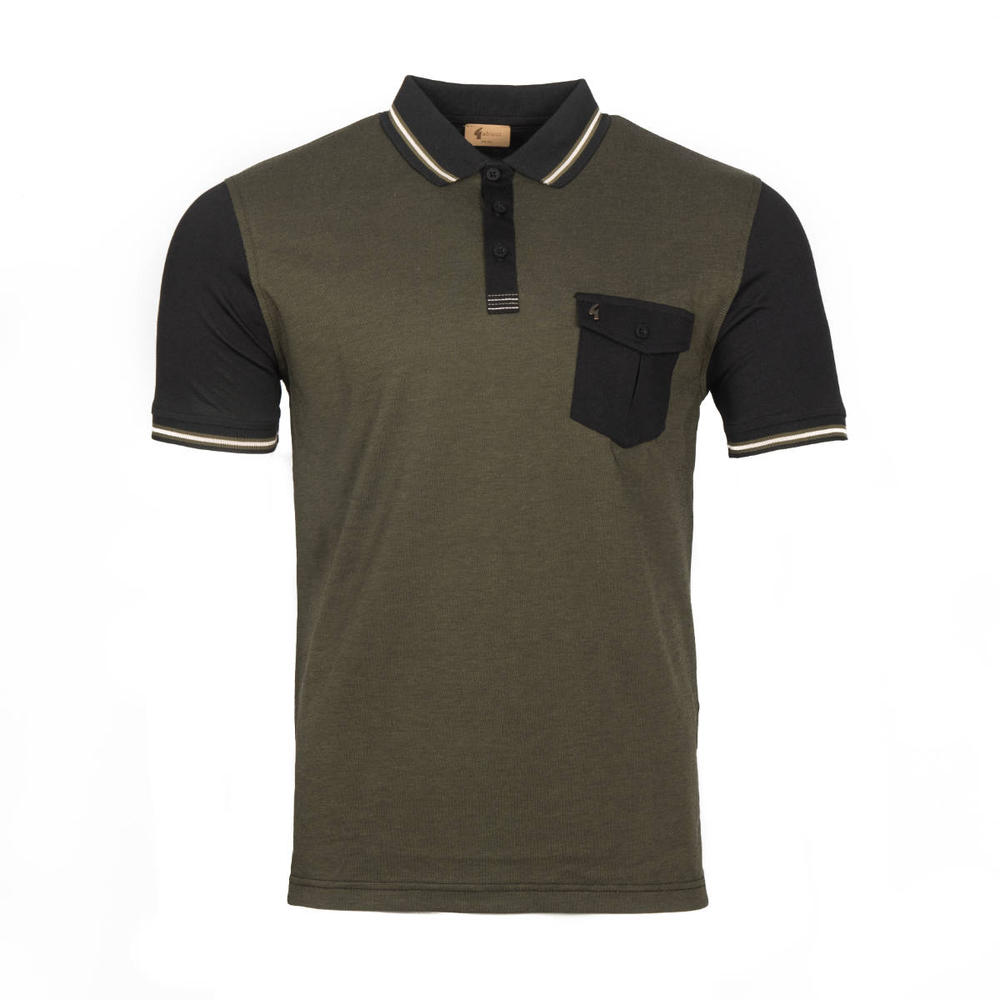 Gabicci Vintage Tonic Pocket Polo Shirt Black Olive