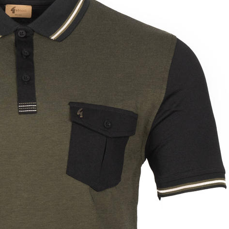 Gabicci Vintage Tonic Pocket Polo Shirt Black Olive Thumbnail 2