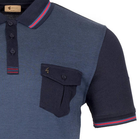 Gabicci Vintage Tonic Pocket Polo Shirt Navy Black Thumbnail 2