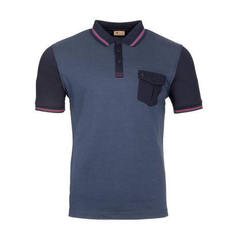 Gabicci Vintage Tonic Pocket Polo Shirt Navy Black Thumbnail 1