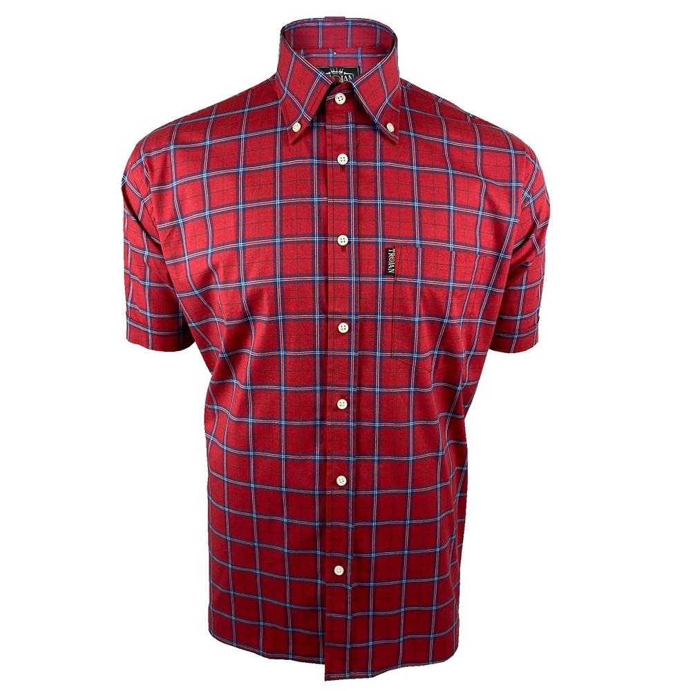 Trojan Records Tartan Check Shirt With Pocket Square Red