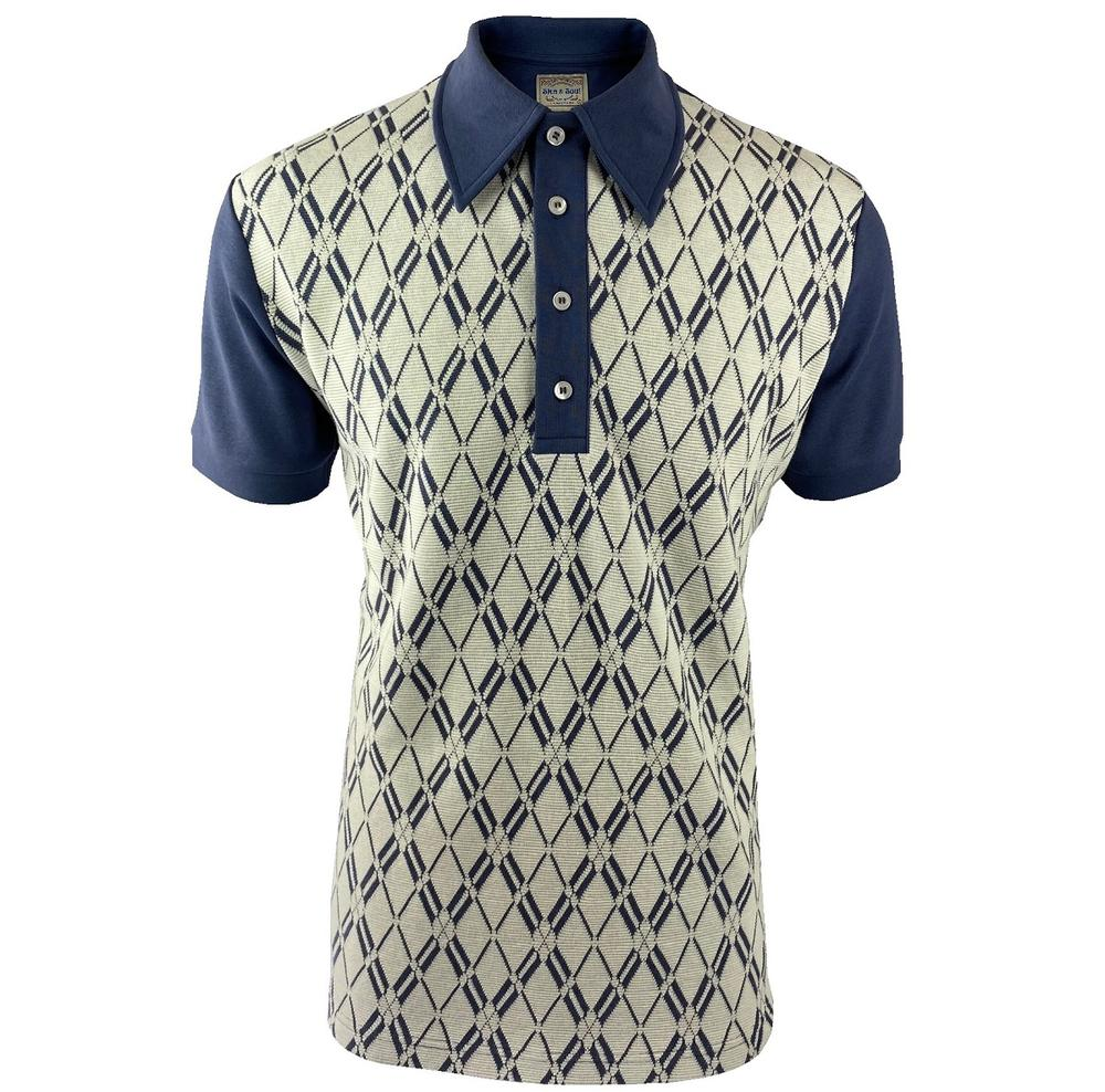 Ska & Soul Diamond Panel Polo Shirt Dark Blue