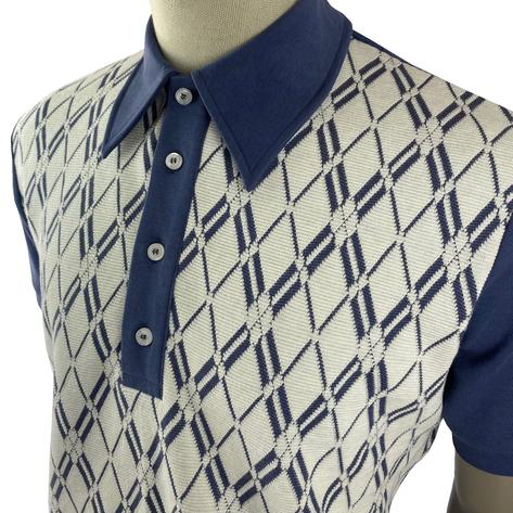 Ska & Soul Diamond Panel Polo Shirt Dark Blue Thumbnail 2