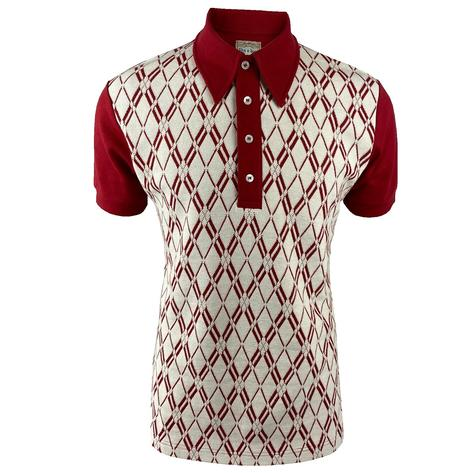 Ska & Soul Diamond Panel Polo Shirt Dark Red