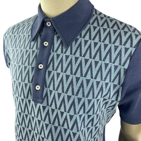 Ska & Soul Zig Zag Panel Polo Shirt Blue Thumbnail 2