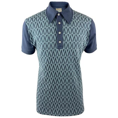 Ska & Soul Zig Zag Panel Polo Shirt Blue Thumbnail 1