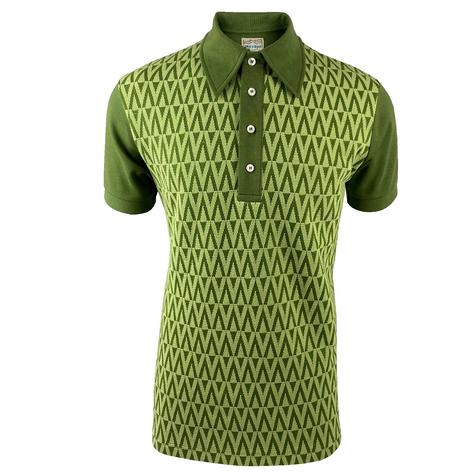 Ska & Soul Zig Zag Panel Polo Shirt Green