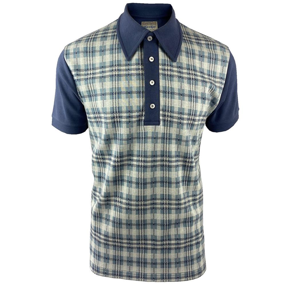 Ska & Soul Check Panel Polo Shirt Blue