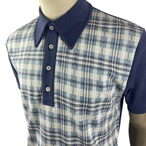 Ska & Soul Check Panel Polo Shirt Blue Thumbnail 2