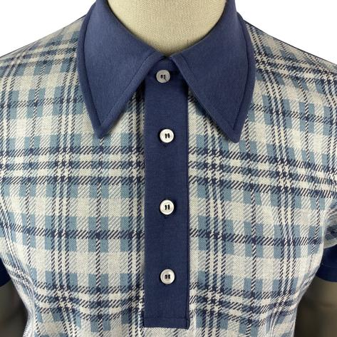 Ska & Soul Check Panel Polo Shirt Blue Thumbnail 3