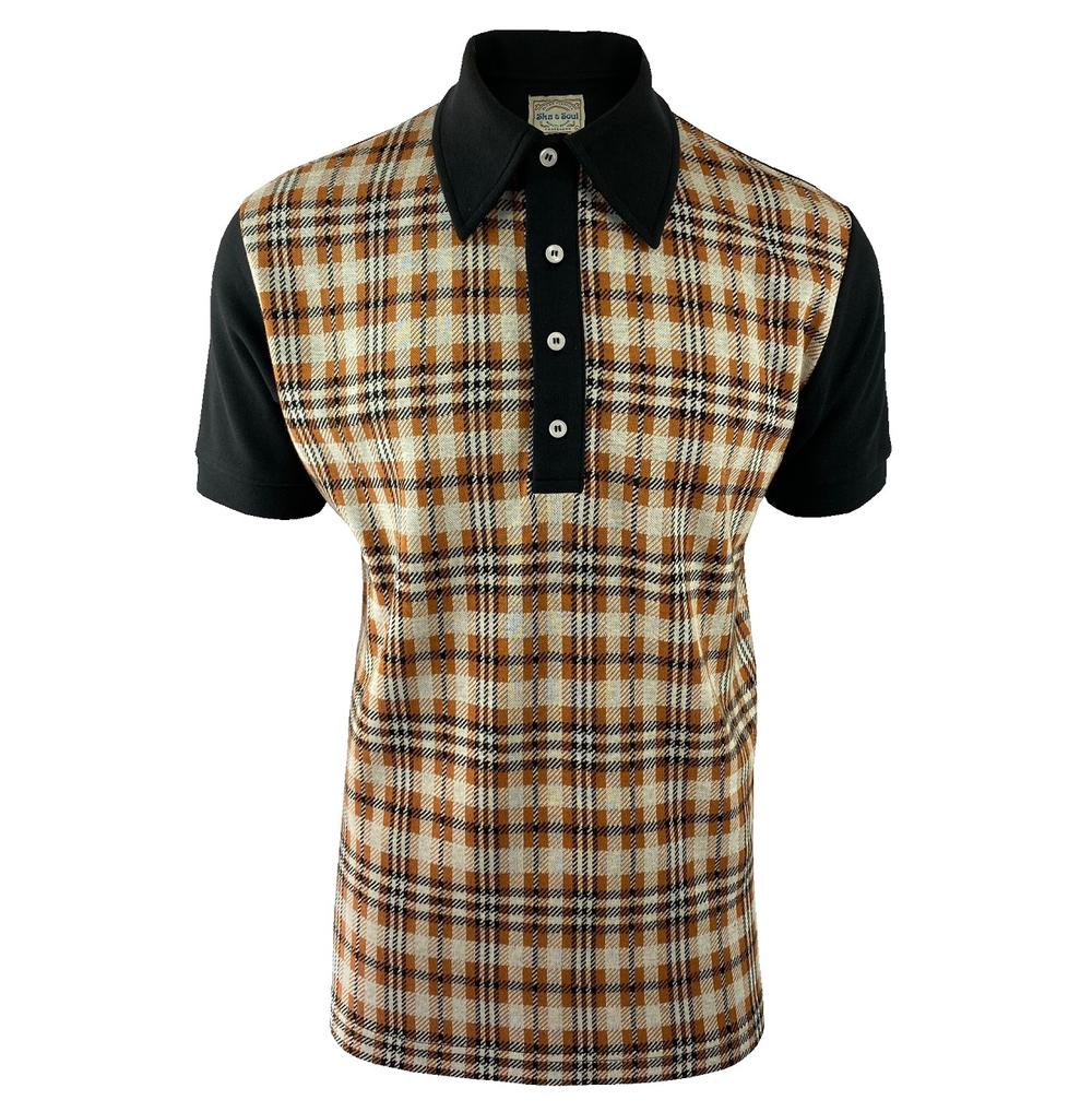 Ska & Soul Check Panel Polo Shirt Ginger