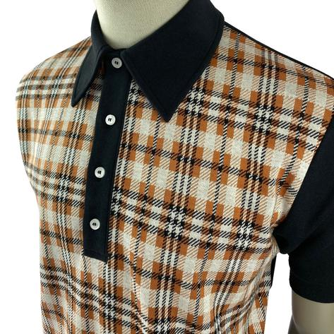 Ska & Soul Check Panel Polo Shirt Ginger Thumbnail 2