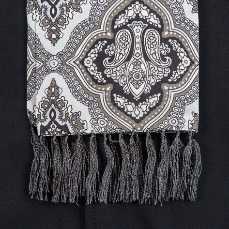 Authentic Tootal Mod 60's Paisley Fringed Silk Scarf Silver and Black Thumbnail 2