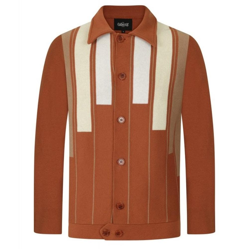 Collectif Heavy Knit Geometric Pattern Cardigan Camel