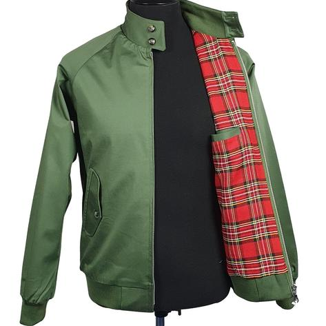 Real Hoxton Raglan Sleeve Harrington Jacket Deep Olive Thumbnail 3