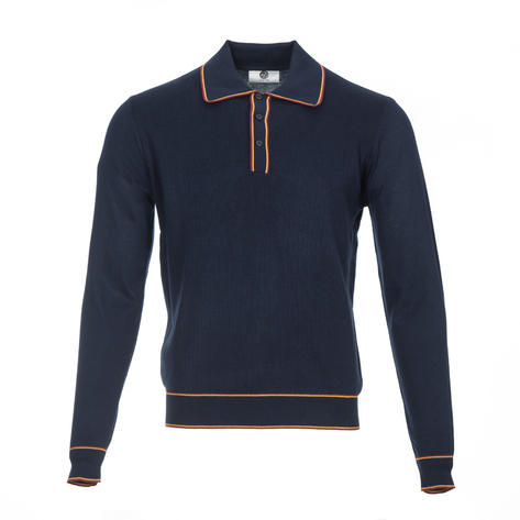 Art Gallery Isley Ribbed Knit Tipped Polo Navy Blue