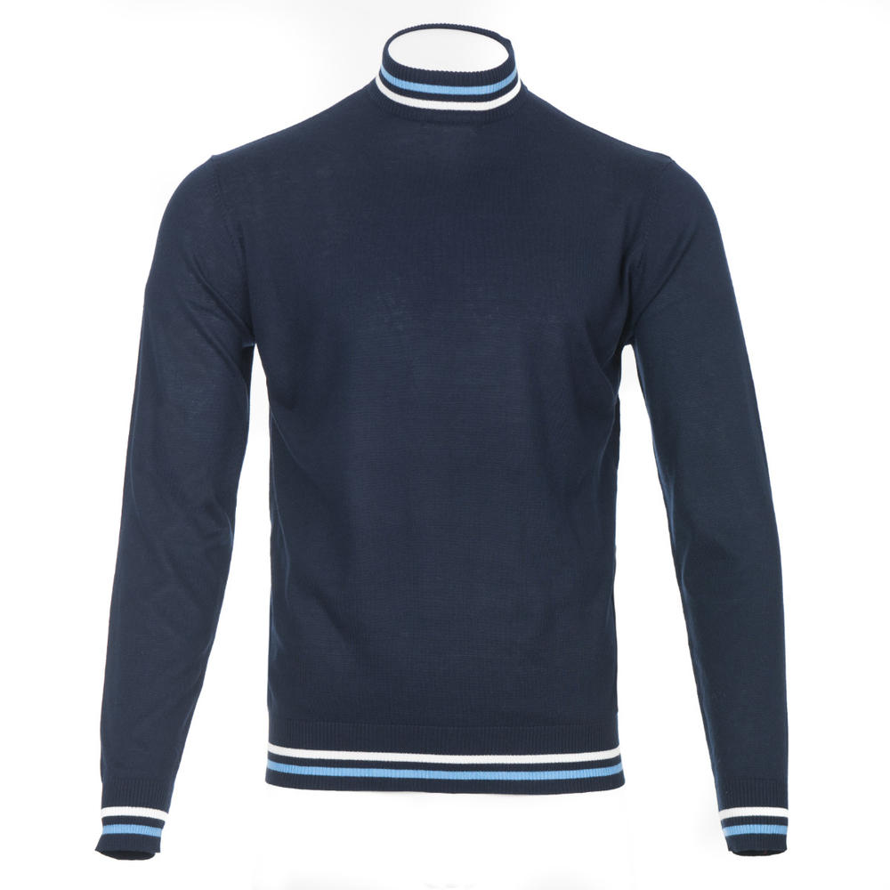 Art Gallery Haye Tipped Turtle Neck Knit Navy Blue