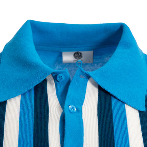 Art Gallery Ruffin Knitted Polo Vertical Stripe Bright Blue Thumbnail 2