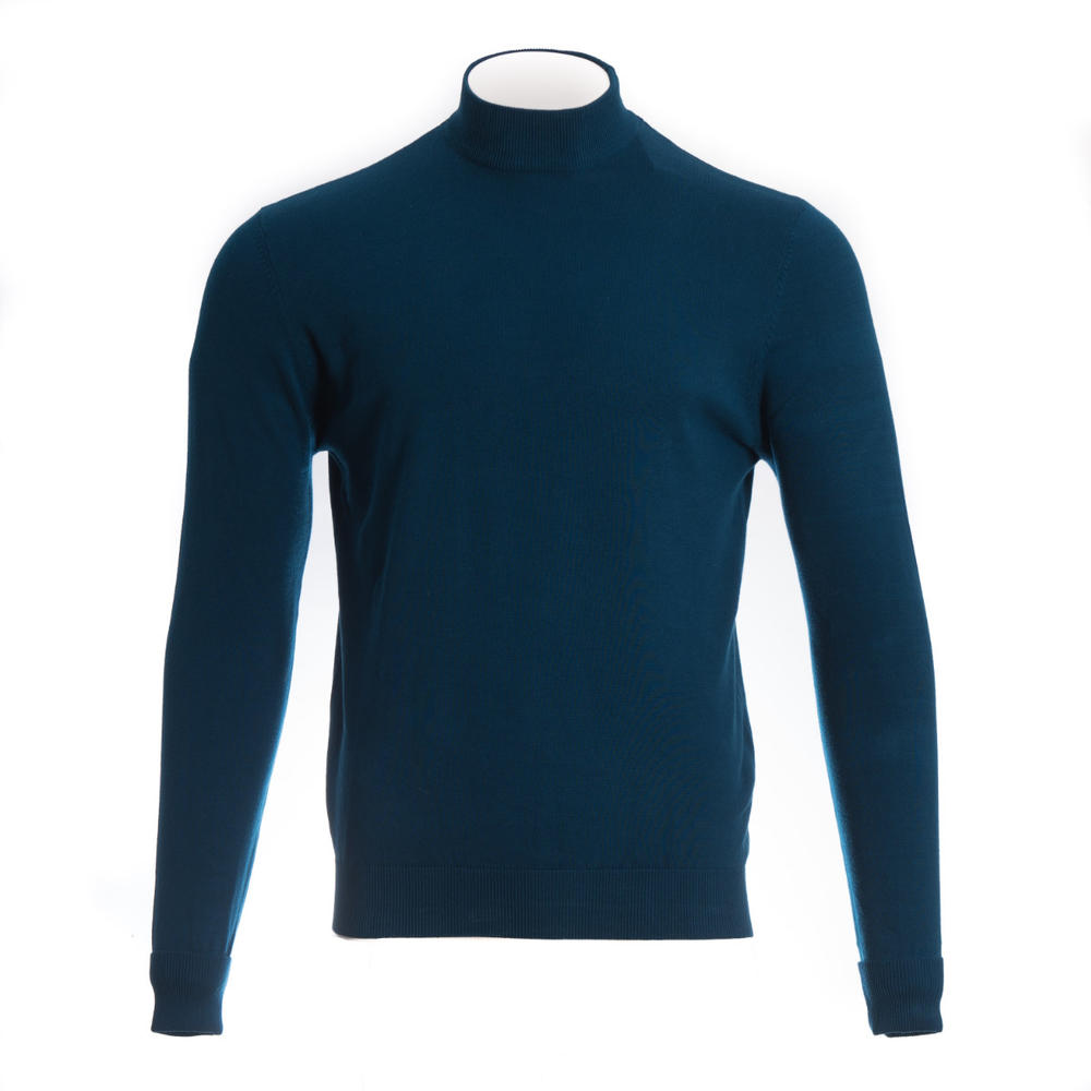 Art Gallery Terence Plain Turtle Neck Mid Blue