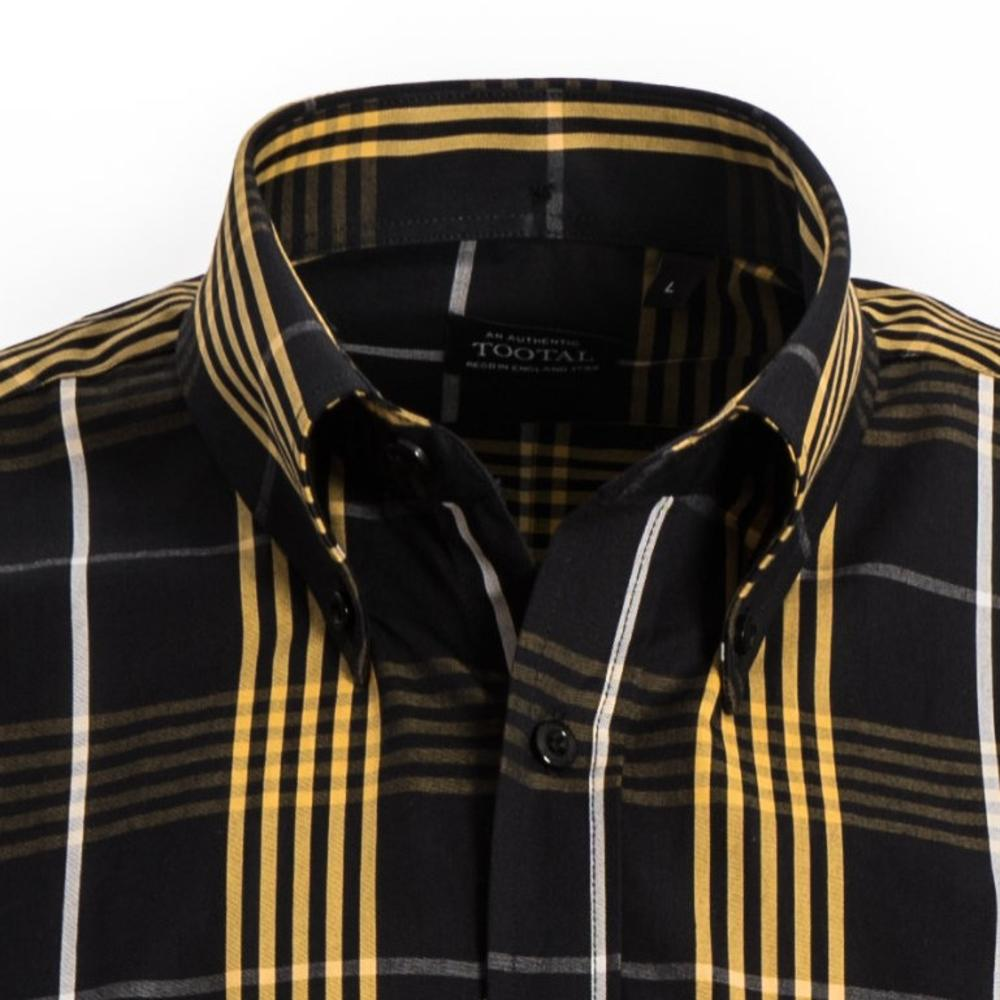 Tootal Short Sleeve Button Down Check Shirt Black and Gold