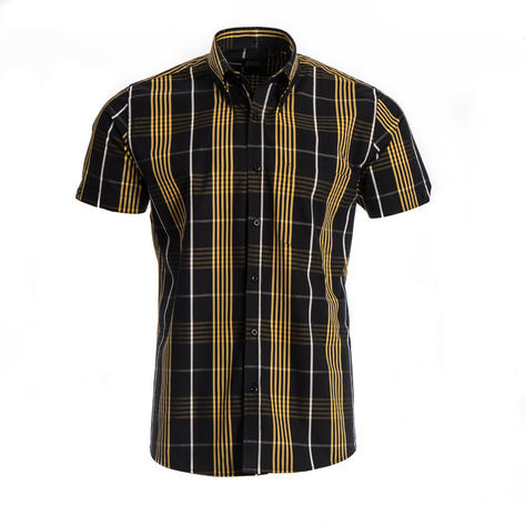 Tootal Short Sleeve Button Down Check Shirt Black and Gold Thumbnail 2